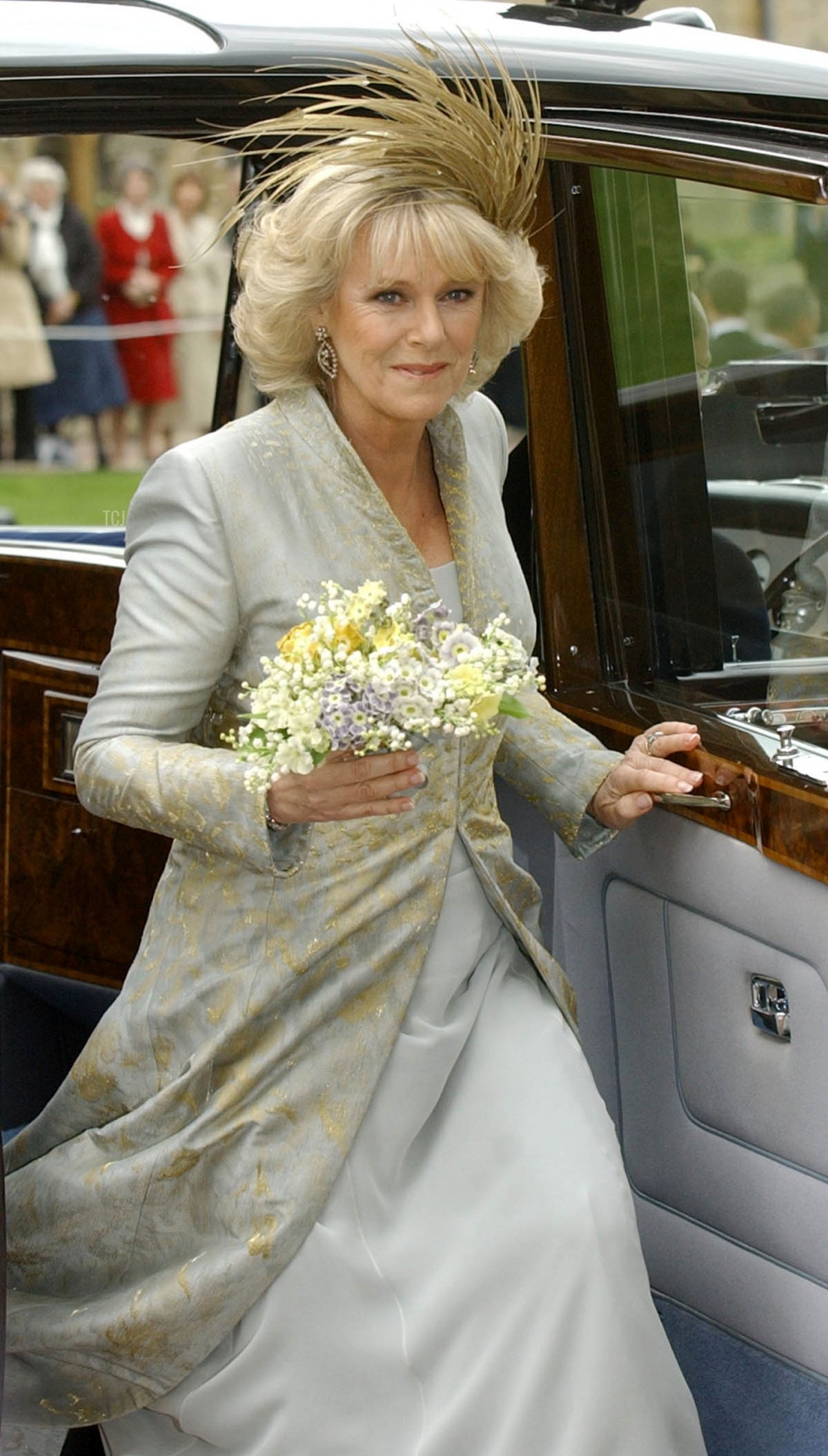 The Duchess of Cornwall, formerly Camilla Parker Bowles, arrives at St Georges Chapel in Windsor Castle after her civil wedding to Prince Charles 09 April 2005