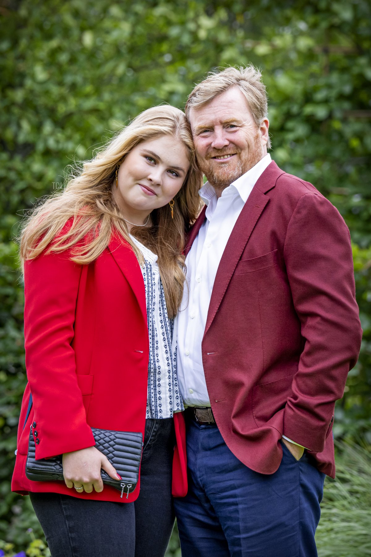 Princess Ariane of the Netherlands, Queen Maxima of the Netherlands, Princess Alexia of the Netherlands, King Willem-Alexander of the Netherlands and Princess Amalia of the Netherlands pose during the summer photo session at Huis ten Bosch Palace in The Hague, on July 16, 2021