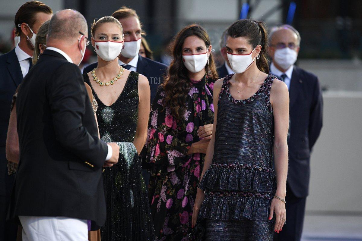 Prince Albert II of Monaco, Beatrice Borromeo, Tatiana Santo Domingo and Charlotte Rassam arrive to attend the Red Cross Summer Concert on July 16, 2021 in Monte-Carlo, Monaco