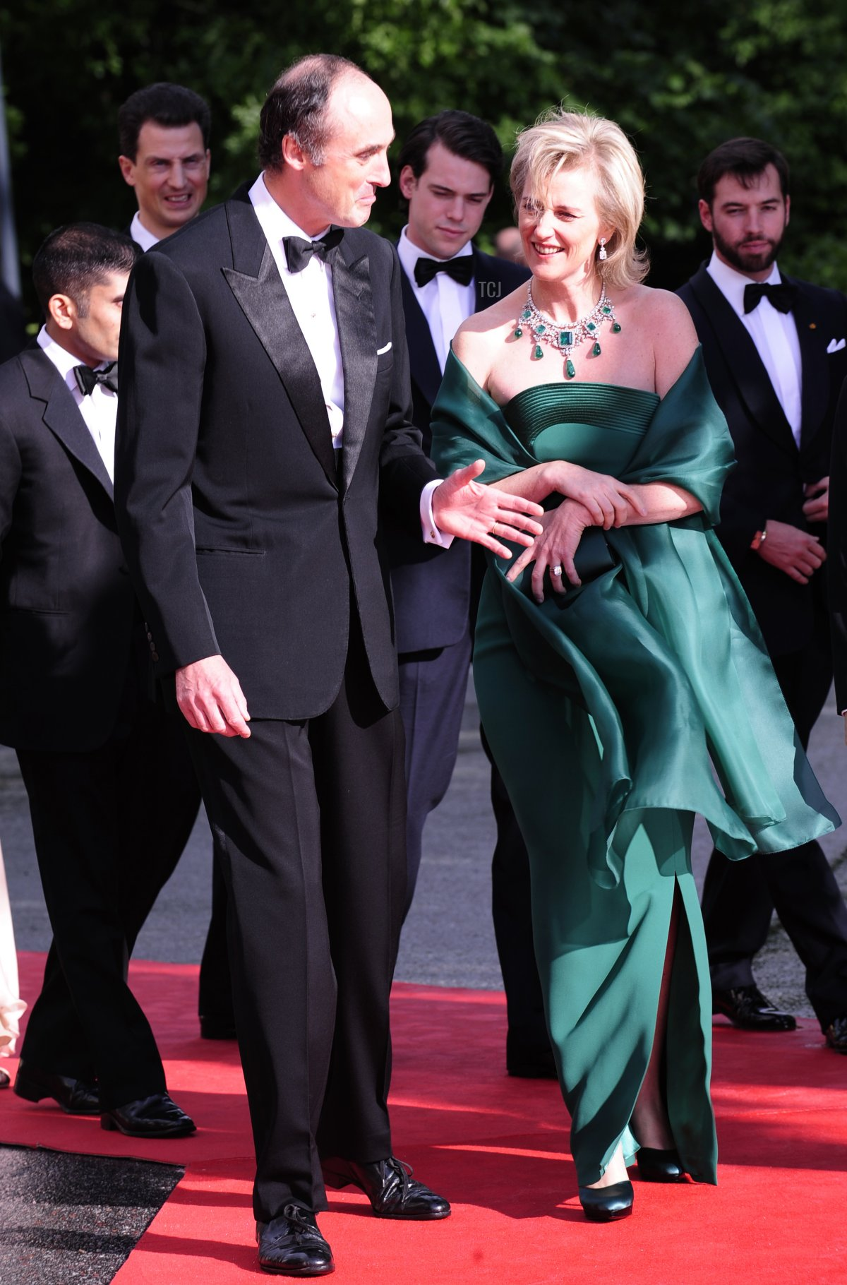 Prince Lorenz (L) and Princess Astrid of Belgium arrive at the Eric Ericson Hall of Skeppsholmen in Stockholm on June 18, 2010 prior to a gala dinner presented by the local government