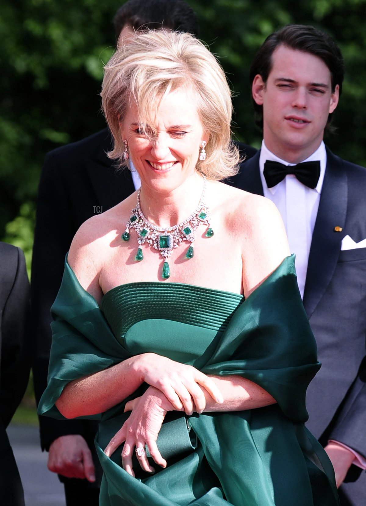 Princess Astrid of Belgium (L) and Japan's Crown Prince Naruhito (R) pose as they arrive at the Eric Ericson Hall of Skeppsholmen in Stockholm on June 18, 2010 prior to a gala dinner presented by the local government