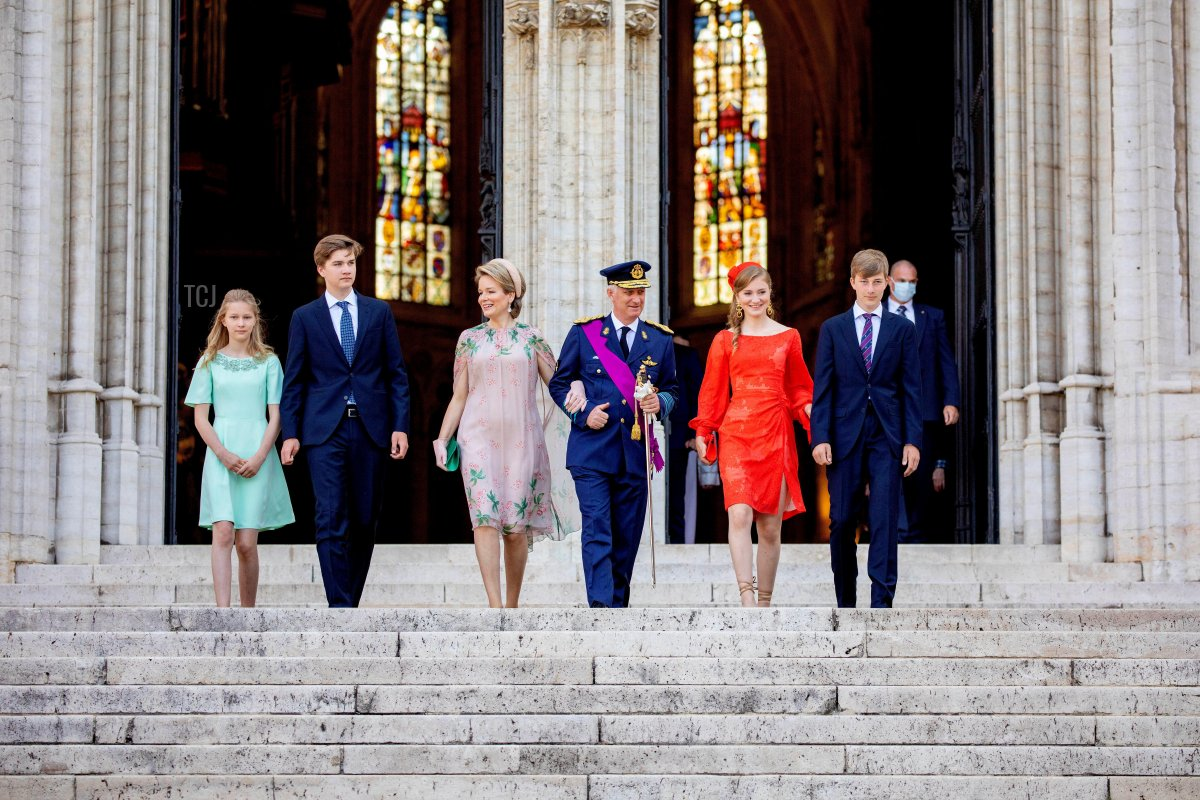 King Philippe, Queen Mathilde, Princess Elisabeth, Prince Gabriel, Prince Emmanuel and Princess Eleonore of Belgium leave the cathedral in Brussels, on July 21, 2021, after attending the Te Deum on the occasion of the National Day of Belgium