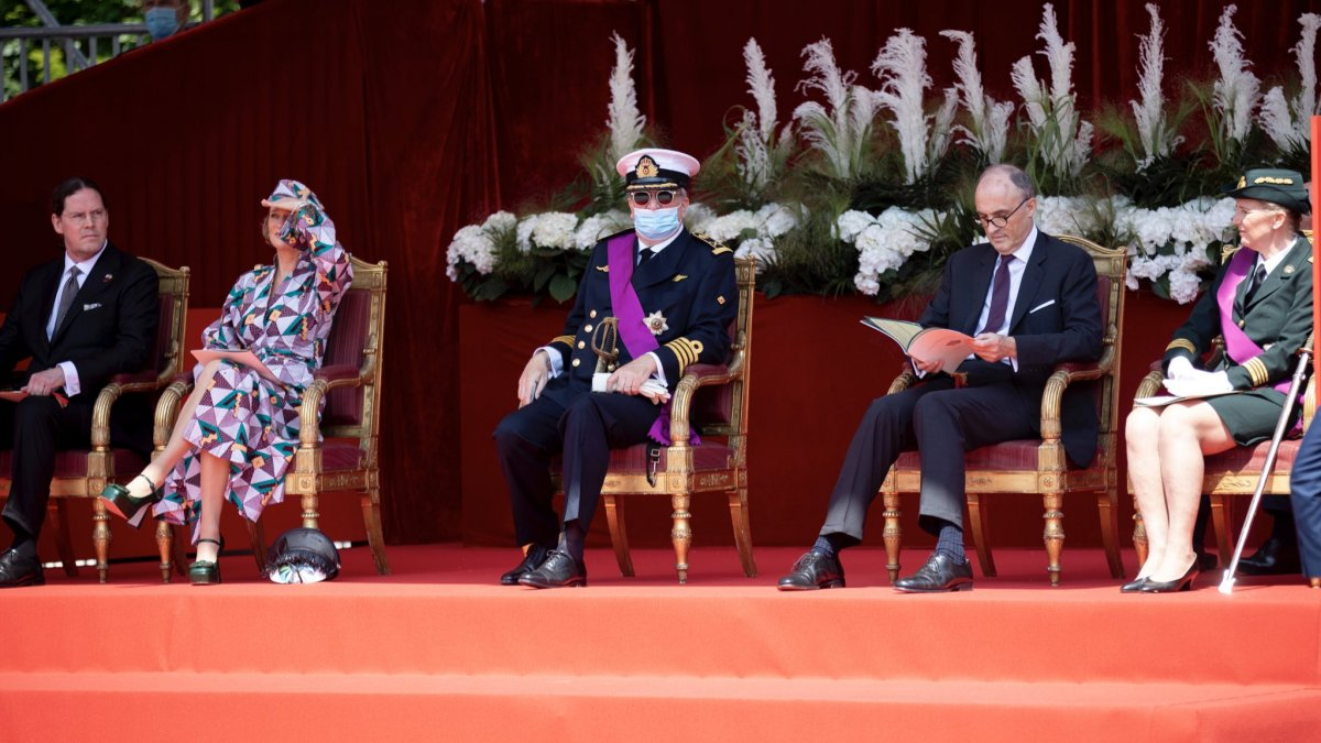 The Belgian royal family attends the military parade in Brussels on National Day, July 21, 2021