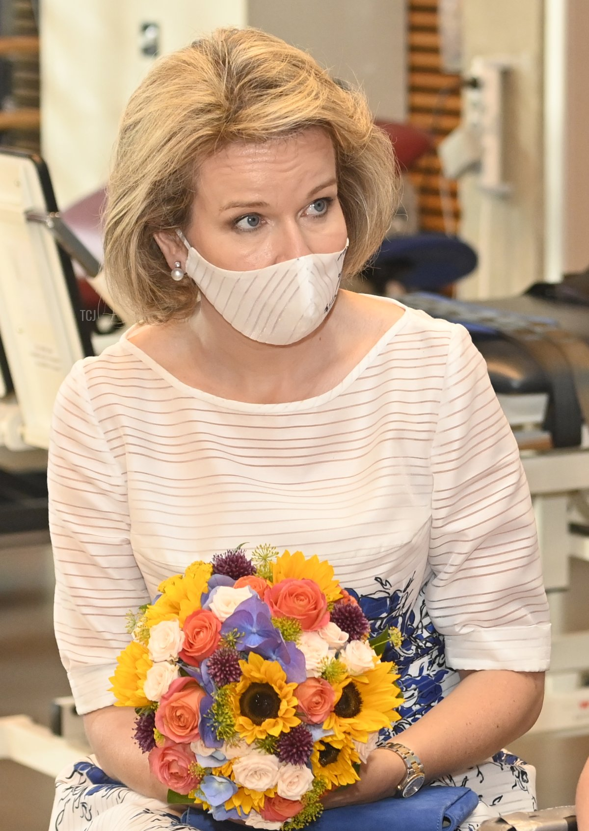 Queen Mathilde of Belgium pictured at a visit of the royal family at the occasion of the Belgian national day, at the national center for multiple sclerosis in Melsbroek, Wednesday 21 July 2021