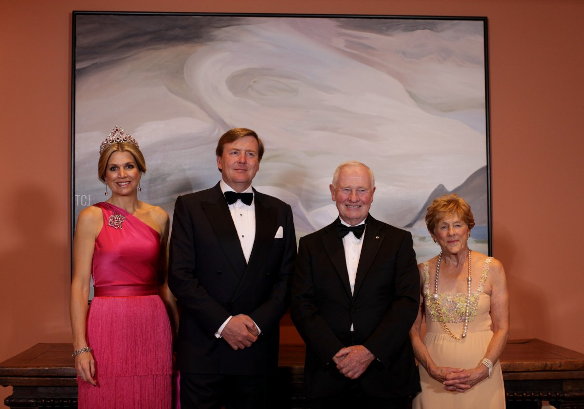 King Willem-Alexander (2nd L) and Queen Maxima (L) of the Netherlands stand with Canada Governor General David Johnston (2nd R) and his wife Sharon (L) for a group photograph during the State Dinner at Rideau Hall May 27, 2015 in Ottawa, Canada