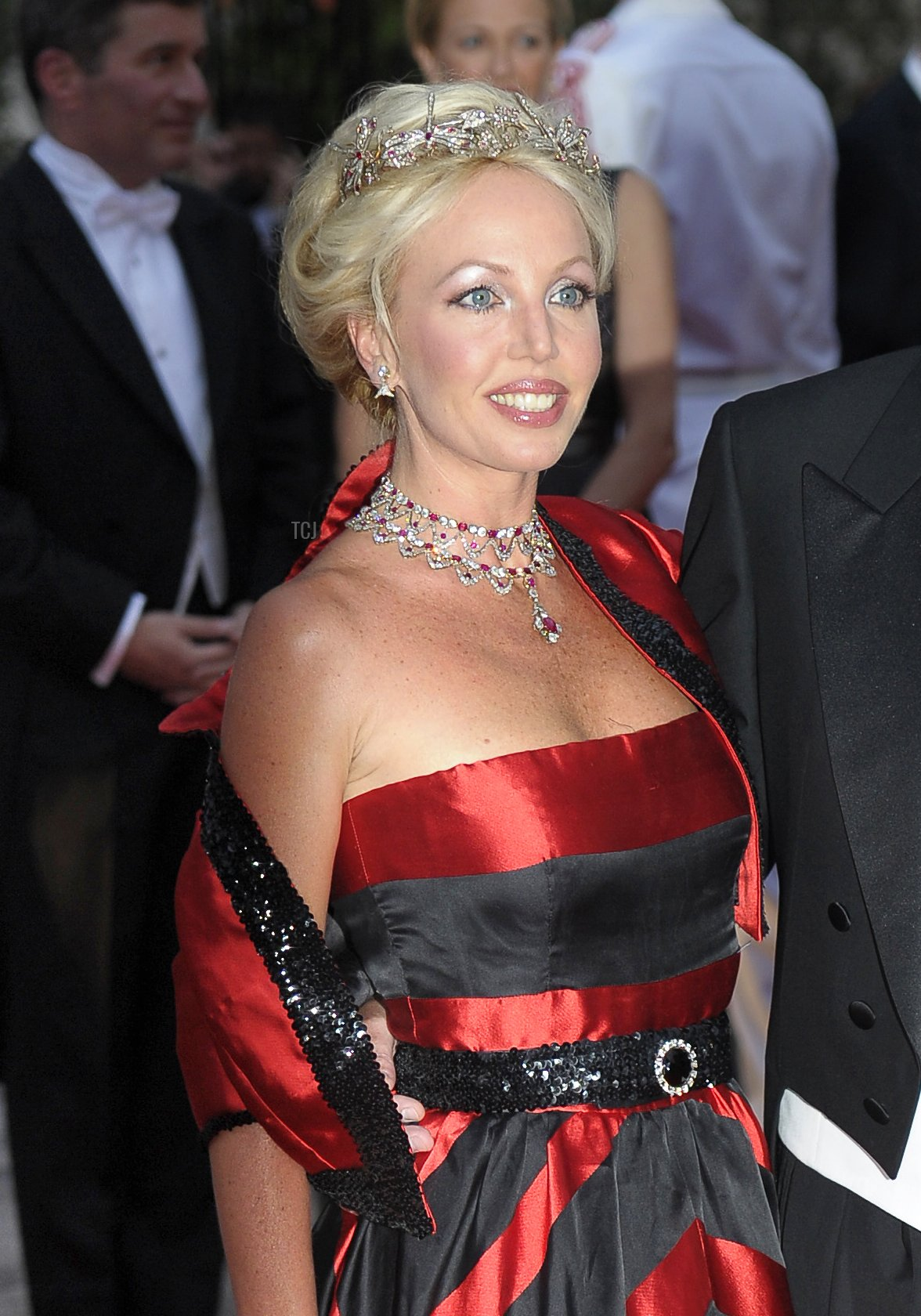 The wife of Italy's Prince Carlo of Bourbon-Two Sicilies, Camilla Cruciani, arrives at a dinner at the Opera terraces after the religious wedding ceremony of Princess Charlene of Monaco and Prince Albert II of Monaco on July 2, 2011 in Monaco