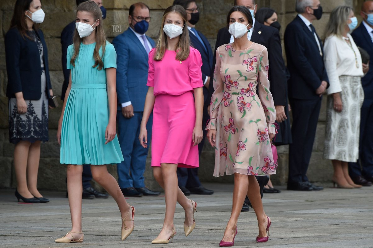 Spain's Queen Letizia (R) walks with her daughters Crown Princess Leonor (C) and Princess Sofia as they arrive to the Cathedral of Santiago de Compostela at Obradoiro Square in Santiago de Compostela during celebrations marking Saint James the Apostle Day on July 25, 2021