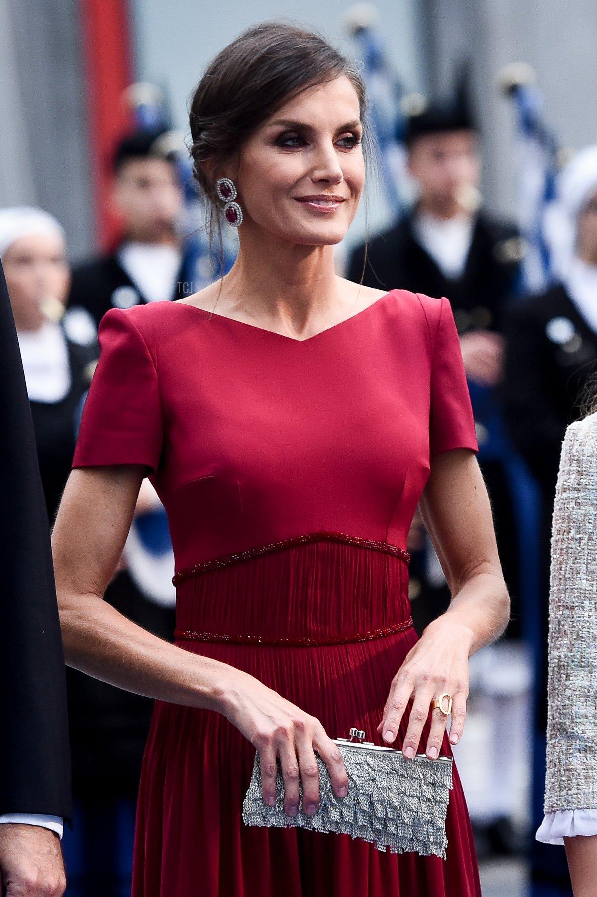 Queen Letizia of Spain arrives to the Campoamor Theatre ahead of the 'Princesa de Asturias' Awards Ceremony 2019 on October 18, 2019 in Oviedo, Spain
