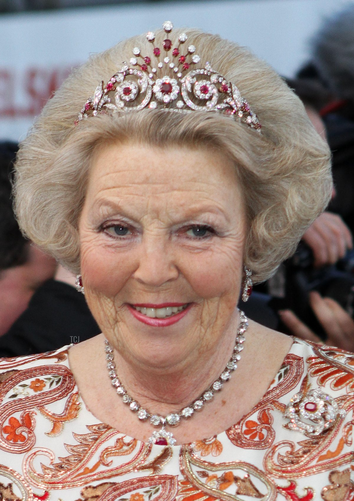 Dutch Queen Beatrix arrives to the gala dinner on the occasion of the celebration of the 70th birthday of Danish Queen Margrethe, Fredensborg Palace, Denmark, 16 April 2010