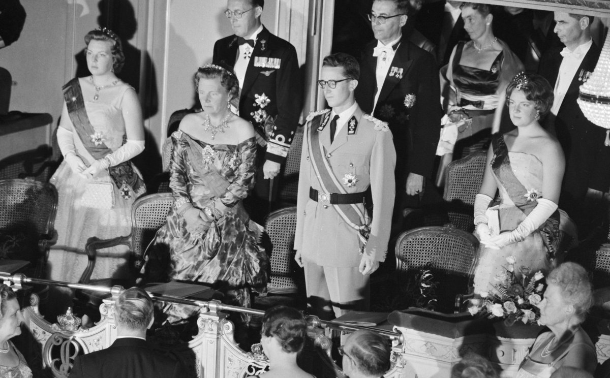 The Dutch royal family attends a gala during the Belgian state visit, July 1959