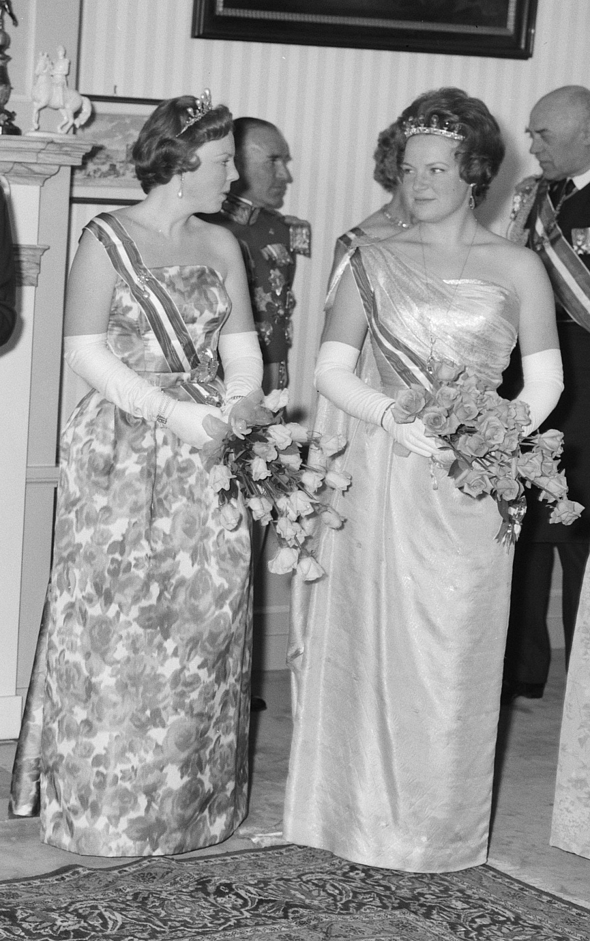 The Dutch royal family attends a gala dinner at the Austrian Embassy, May 1961