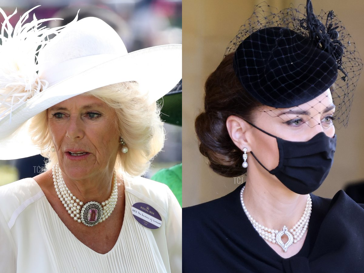Camilla's Pink Topaz & Pearl Choker, The Japanese Pearl Choker Necklace