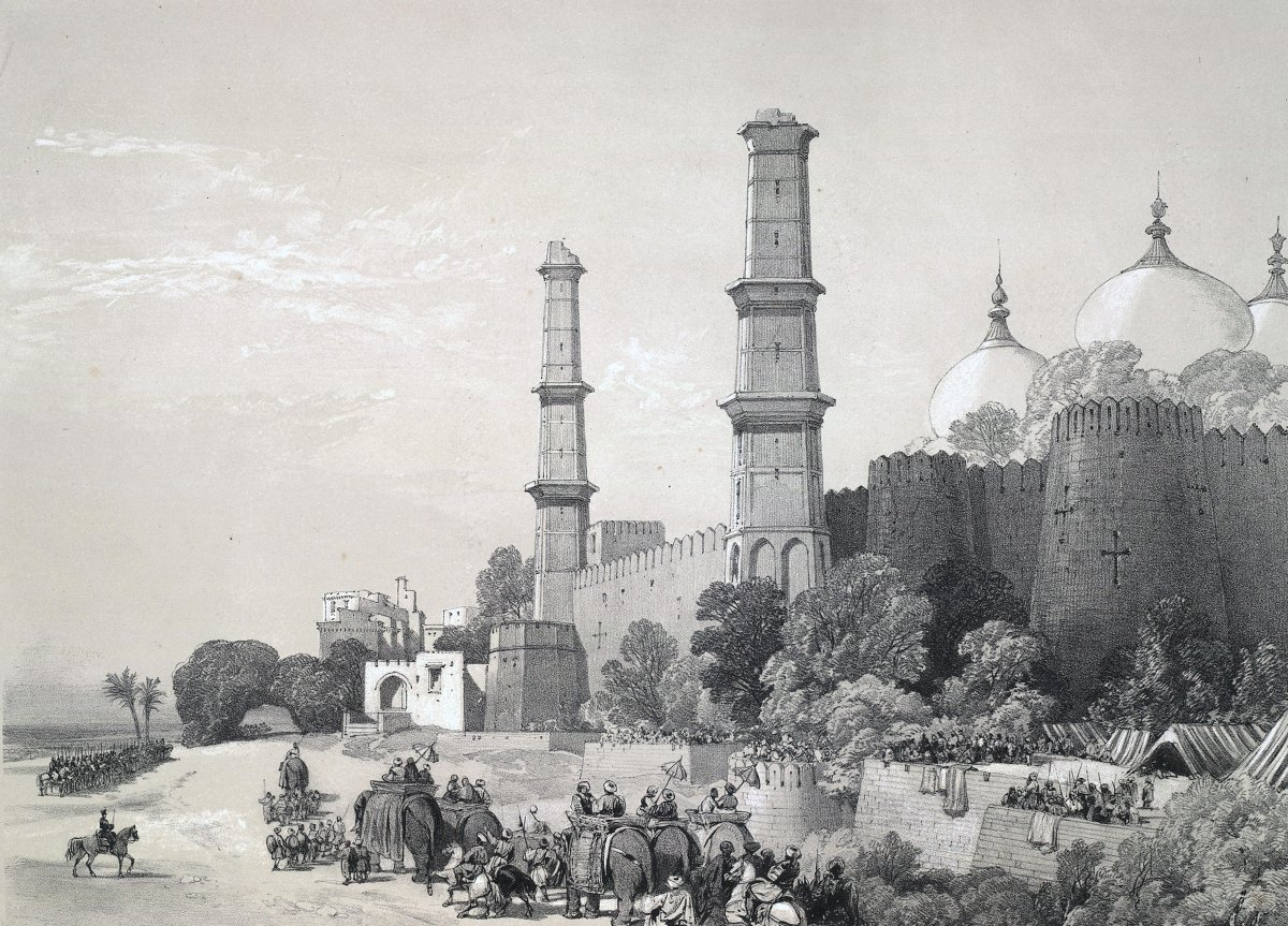 The child Maharajah of Lahore, Duleep Singh enters his palace in Lahore, from the Parade Ground, accompanied by an escort of British troops commanded by Brigadier Cureton, following the First Anglo-Sikh War (1845-46)