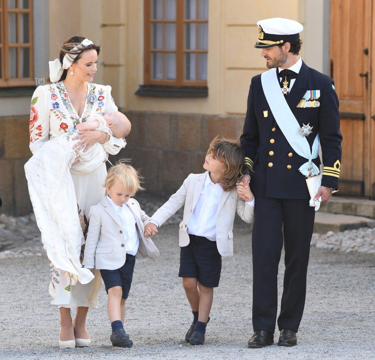 Prince Carl Philip, Princess Sofia, Prince Alexander, Prince Gabriel and Prince Julian attend Prince Julian's baptism outside Drottningholm Castle Chapel on August 14, 2021 in Stockholm, Sweden