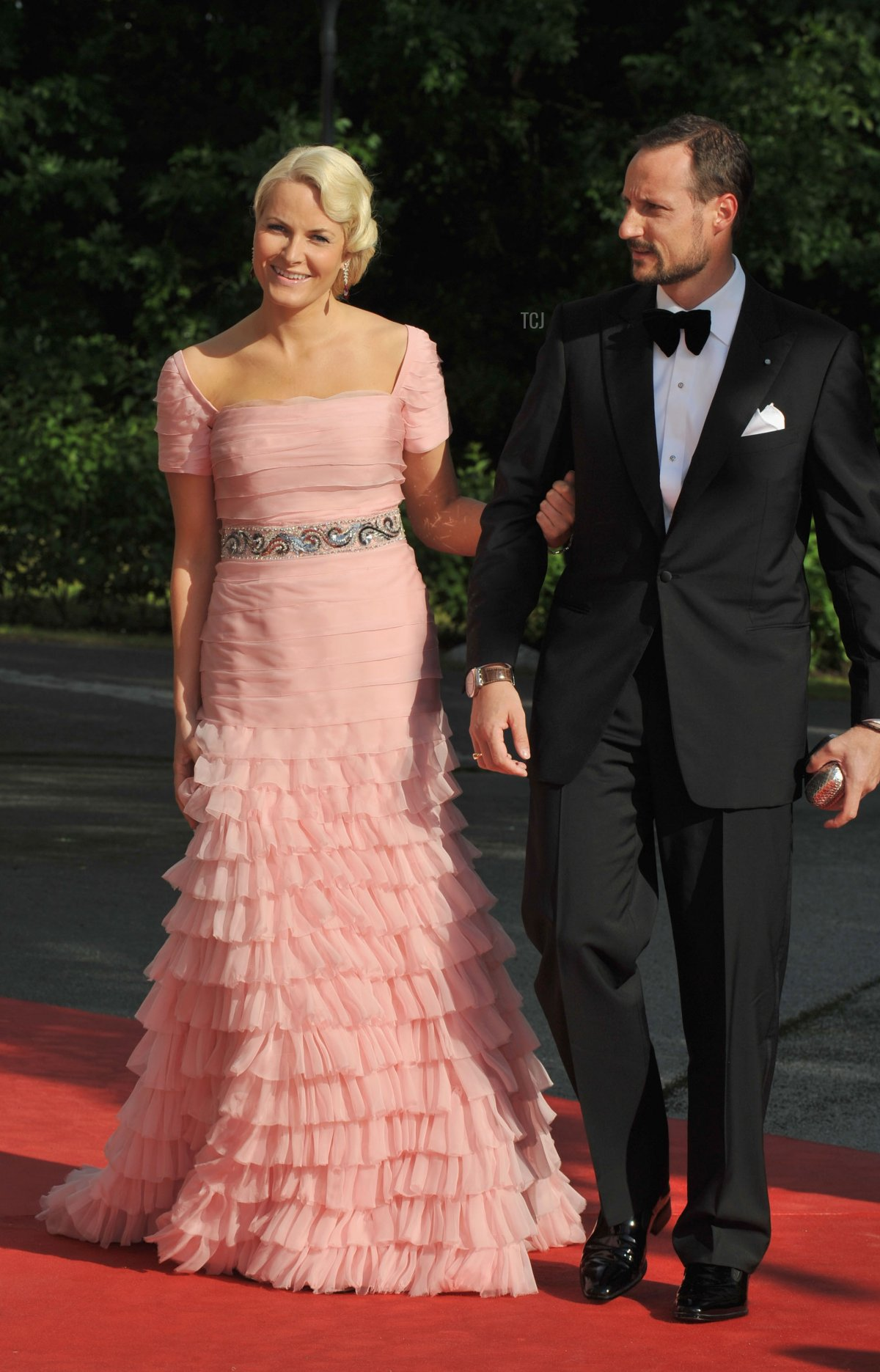 Princess Mette-Marit of Norway and Prince Haakon of Norway attend the Government Pre-Wedding Dinner for Crown Princess Victoria of Sweden and Daniel Westling at The Eric Ericson Hall on June 18, 2010 in Stockholm, Sweden