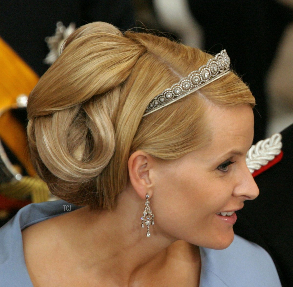 Crown Prince Haakon and his wife Crown Princess Mette-Marit of Norway attend the wedding between Danish Crown Prince Frederik and Miss Mary Elizabeth Donaldson in Copenhagen Cathedral May 14, 2004