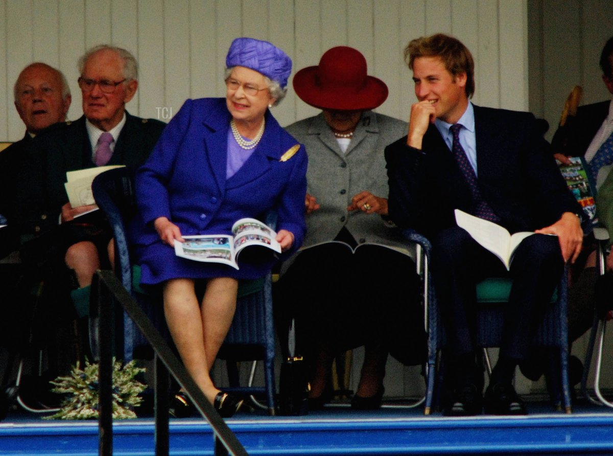 Queen Elizabeth II and HRH Prince William attend the Braemar Royal Highland Gathering on September 3, 2005 in Braemar, Scotland