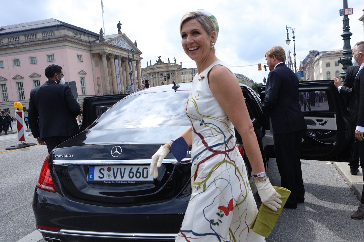 King Willem-Alexander and Queen Maxima of the Netherlands lay a wreath at Neue Wache on July 5, 2021 in Berlin, Germany