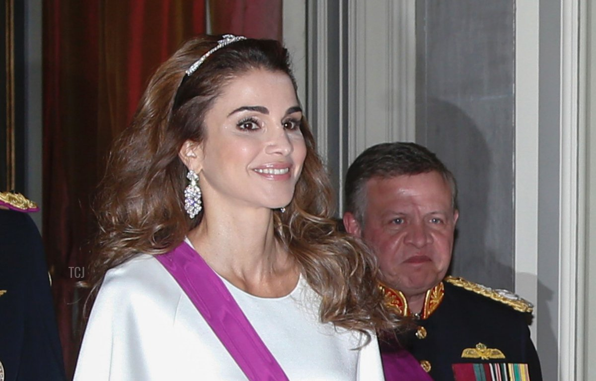 King Philippe of Belgium, Queen Rania of Jordan, King Abdullah II of Jordan and Queen Mathilde of Belgium attend a gala dinner at the Laeken royal Palace in Brussels, on May 18, 2016