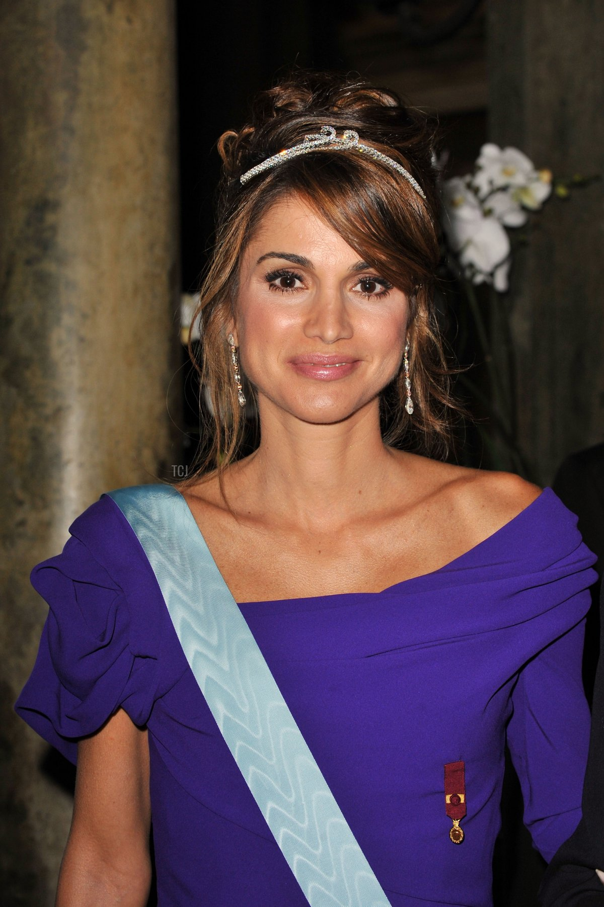 Queen Rania of Jordan attends the Wedding Banquet for Crown Princess Victoria of Sweden and her husband prince Daniel at the Royal Palace on June 19, 2010 in Stockholm, Sweden
