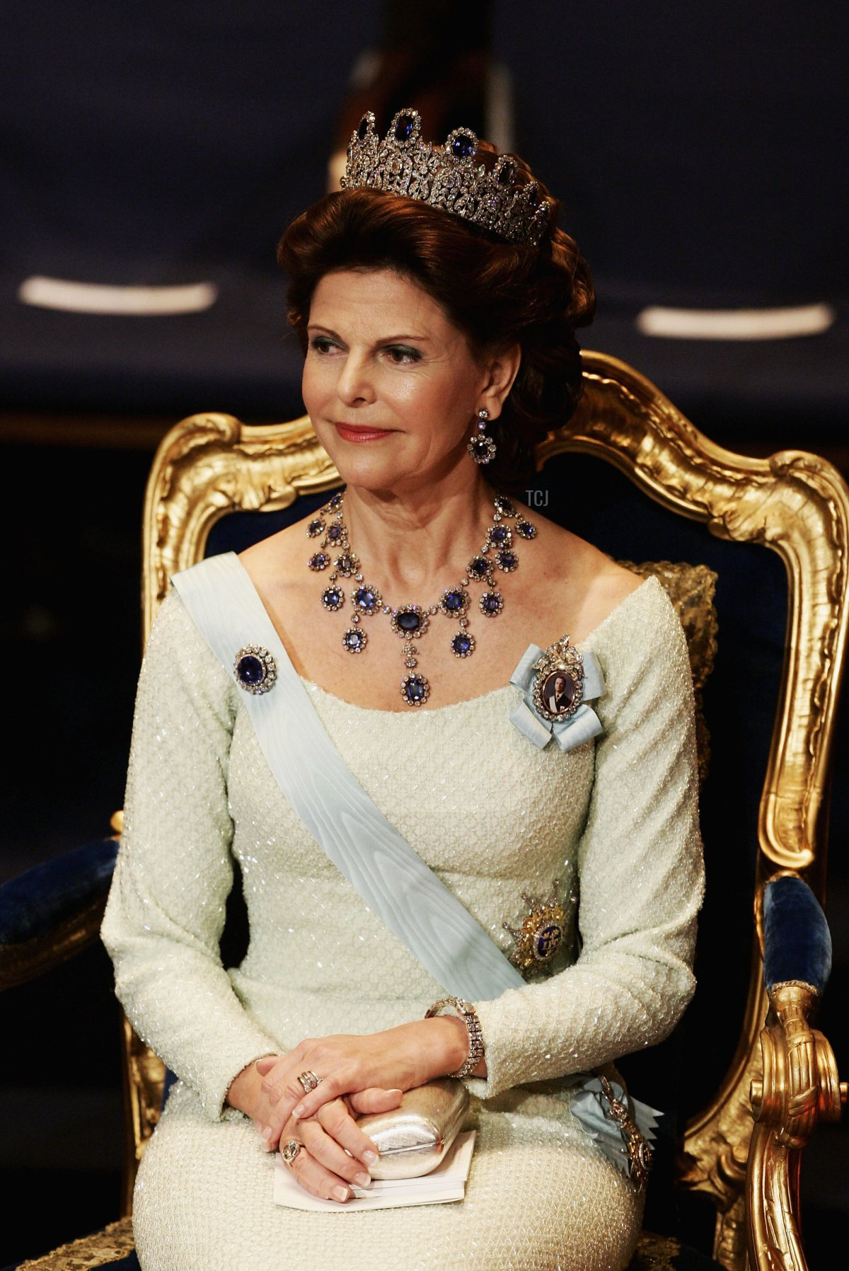 Queen Silvia of Sweden attends the awarding ceremony of the Nobel Prizes at City Hall December 10, 2004 in Stockholm, Sweden