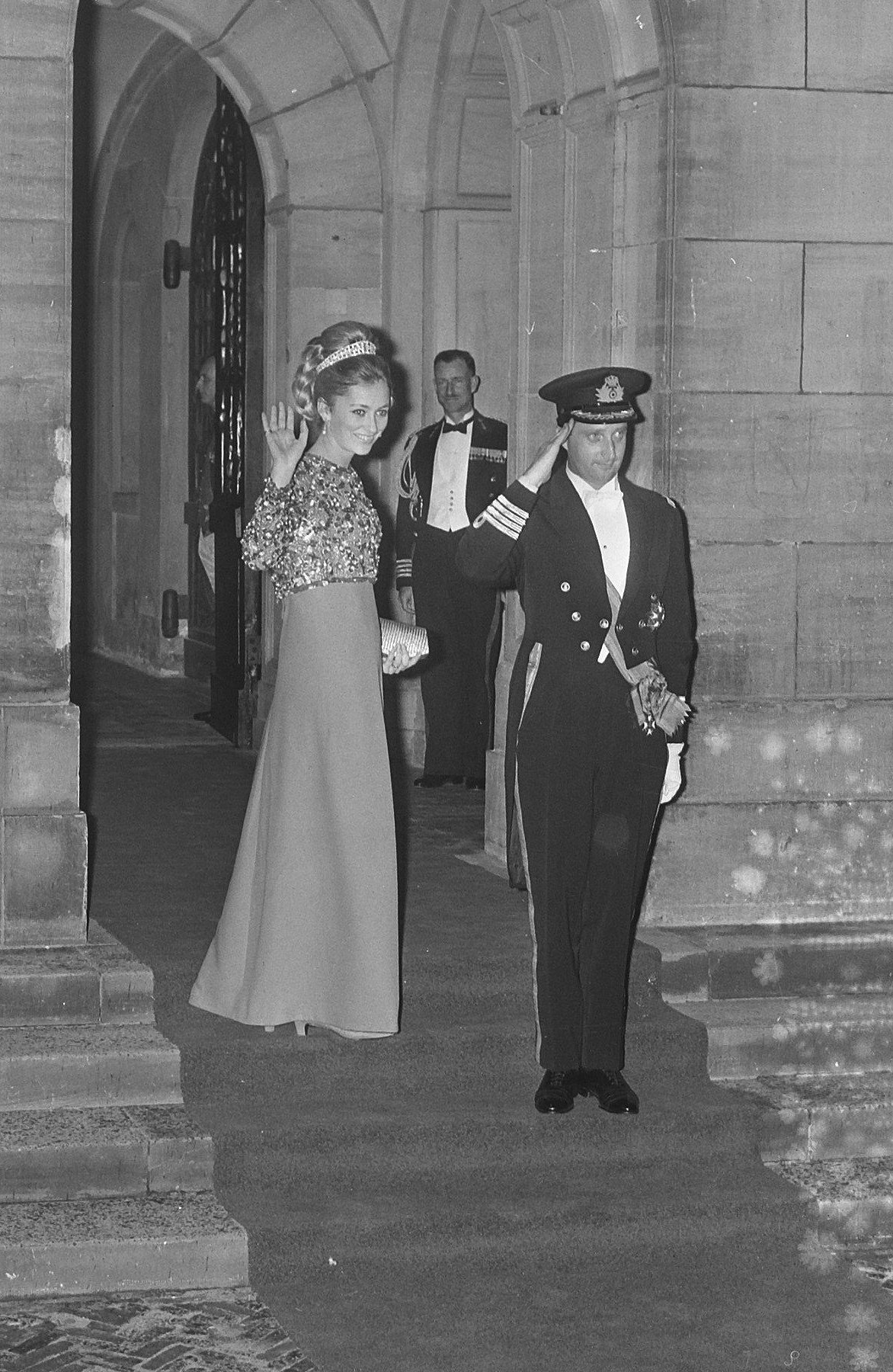 Prince Albert and Princess Paola attend a pre-wedding ball for Princess Beatrix and Prince Claus of the Netherlands, March 1966