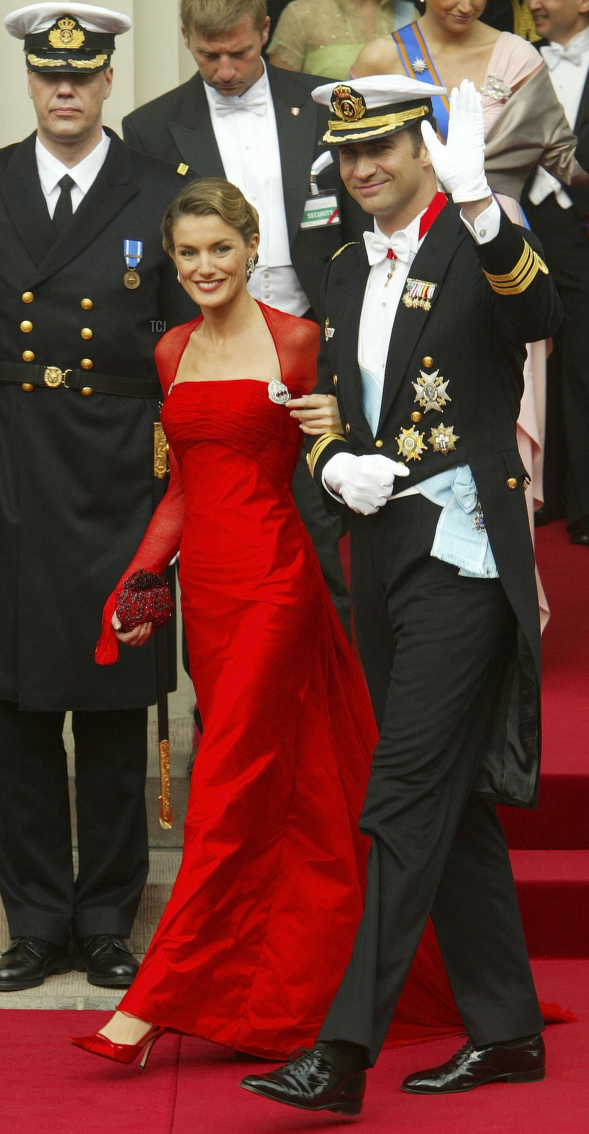 Prince Felipe and fiancee Letizia Ortiz Rocasolano leave Copenhagen Cathedral after the wedding ceremony between Danish Crown Prince Frederik and his bride Crown Princess Mary May 14, 2004 in Copenhagen, Denmark