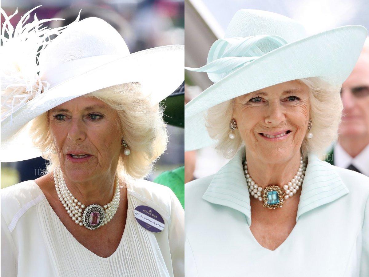 Camilla's Pink Topaz & Pearl Choker, Camilla's Aquamarine & Pearl Choker