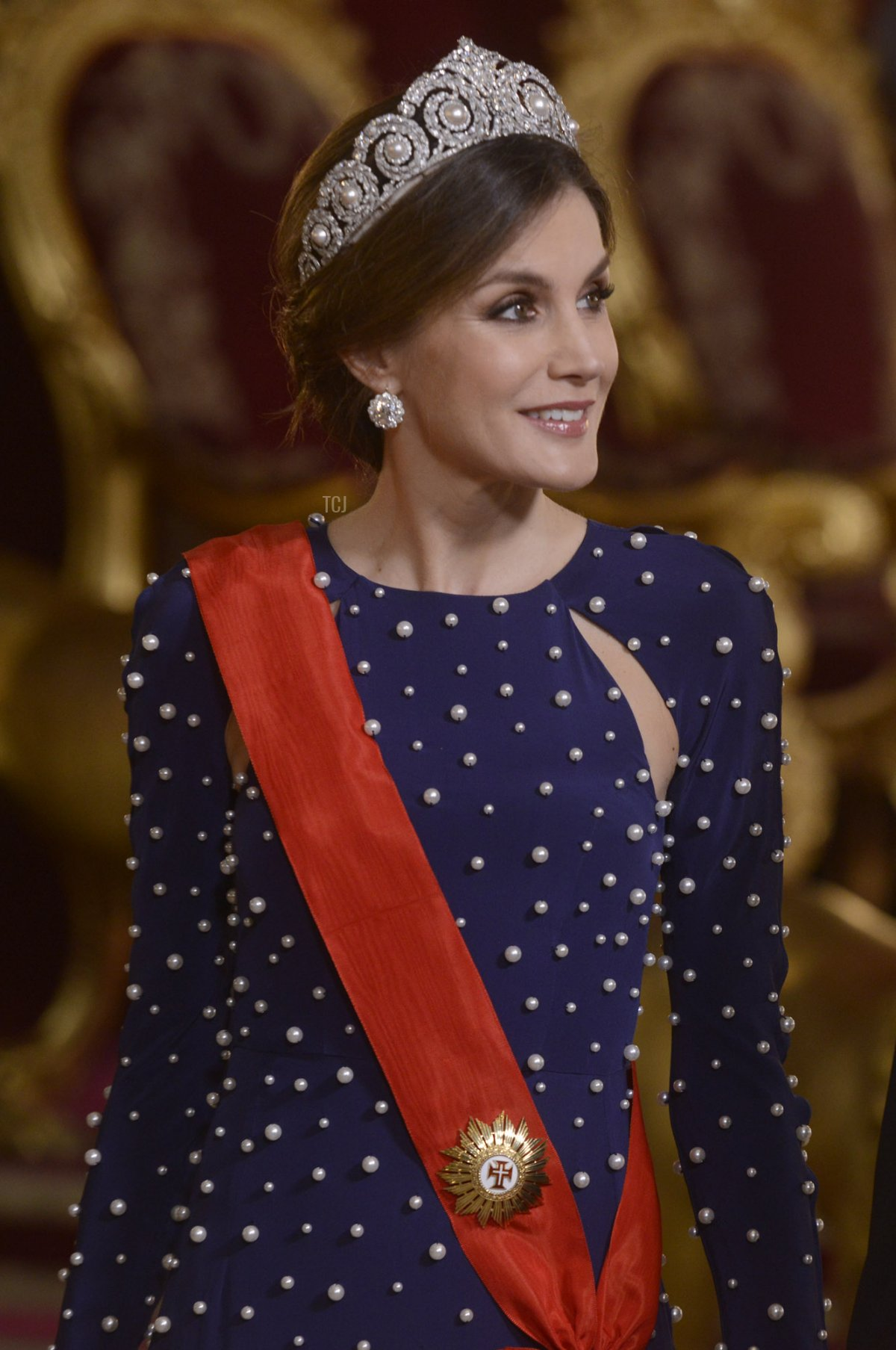 Queen Letizia of Spain and President of Portugal Marcelo Rebelo de Sousa attend a dinner gala for the President of Portugal Marcelo Rebelo de Sousa at the Royal Palace on April 16, 2018 in Madrid, Spain