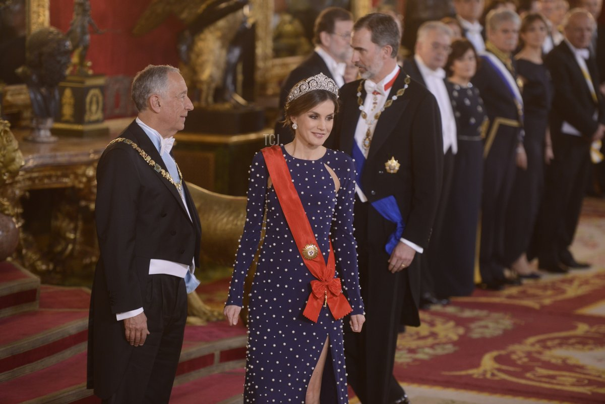 President of Portugal Marcelo Rebelo de Sousa, Queen Letizia of Spain and King Felipe VI of Spain attend a dinner gala for the President of Portugal Marcelo Rebelo de Sousa at the Royal Palace on April 16, 2018 in Madrid, Spain
