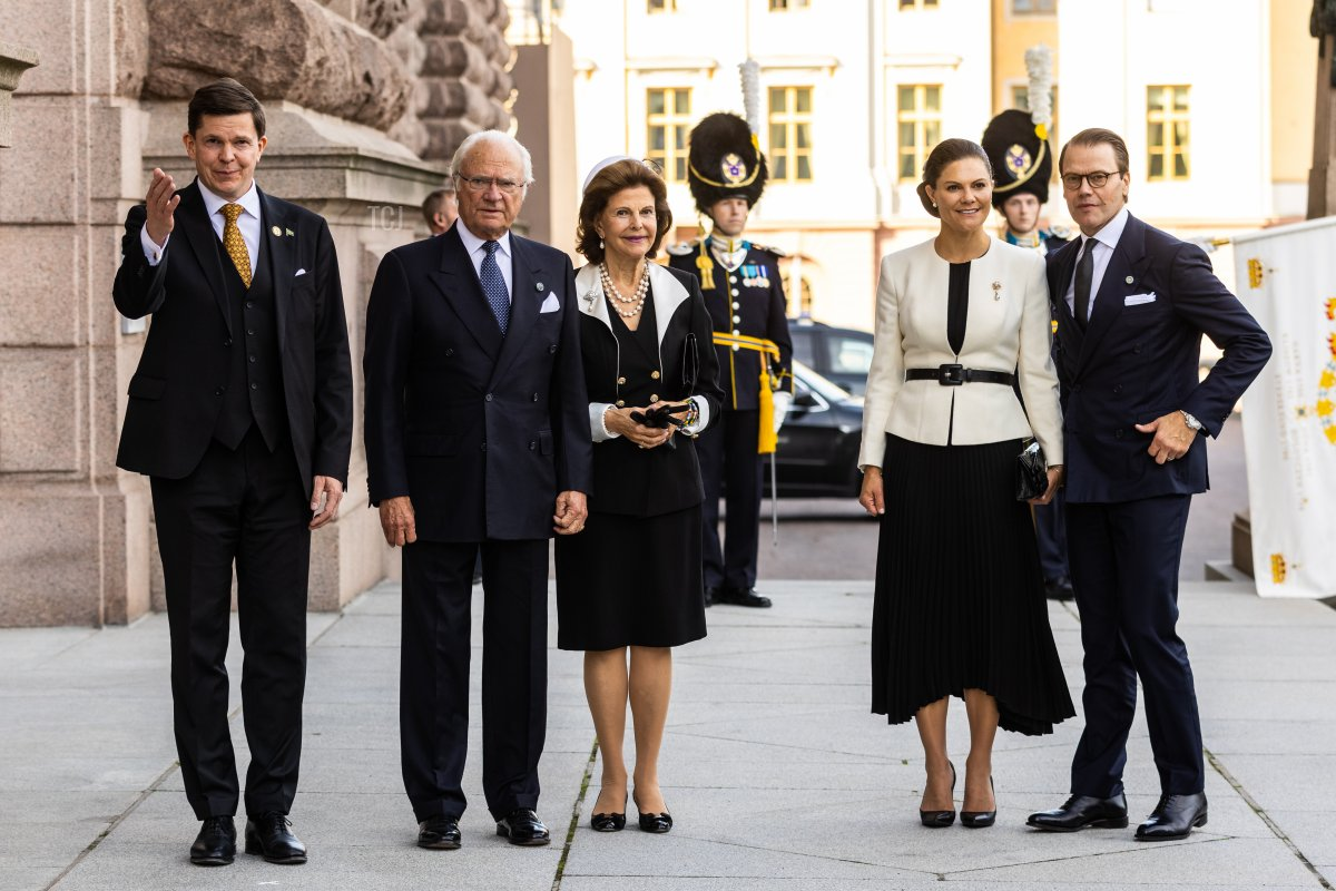 Andreas Norlen greets King Carl XVI Gustaf, Queen Silvia of Sweden, Crown Princess Victoria of Sweden and Prince Daniel of Sweden while attending a ceremony in connection with opening of the Swedish Parliament for the 2021/22 work year at the Swedish Parliament House on September 14, 2021 in Stockholm, Sweden