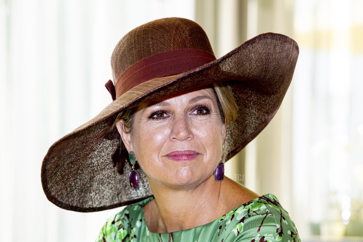 Queen Maxima of The Netherlands visit the village on September 14, 2021 in Heeten, Netherlands. The King and Queen are visiting the Dutch region Salland