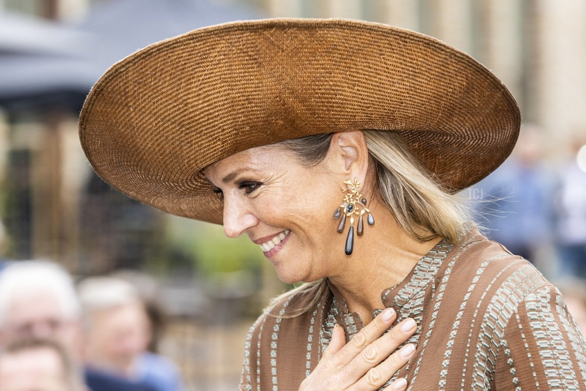 Queen Maxima arrives for a visit at the House of Culture and Administration of the municipality of Midden-Groningen on September 15, 2021