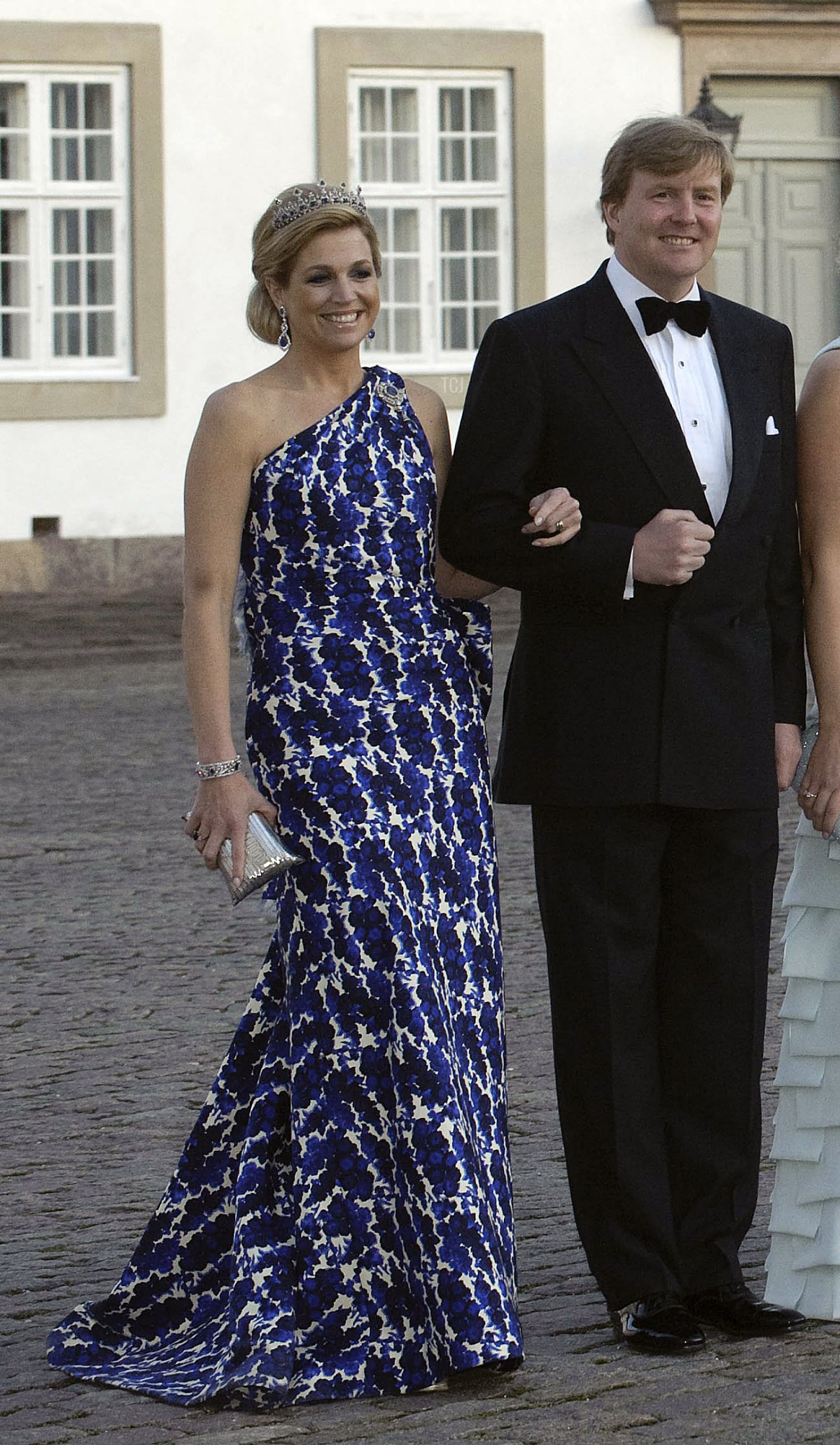 Prince Willem-Alexander and Crown Princess Maxima of the Netherlands arrive at the gala dinner on the occasion of the celebration of the 70th birthday of Danish Queen Margrethe, Fredensborg Palace, Denmark, 16 April 2010
