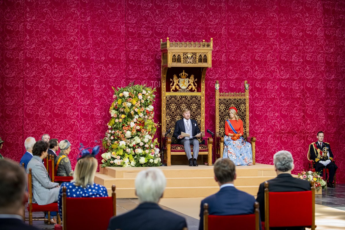 King Willem-Alexander of The Netherlands and Queen Maxima of The Netherlands attends Prinsjesdag, the annual opening of the parliamentary year, in the Grote Kerk on September 21, 2021 in The Hague, Netherlands