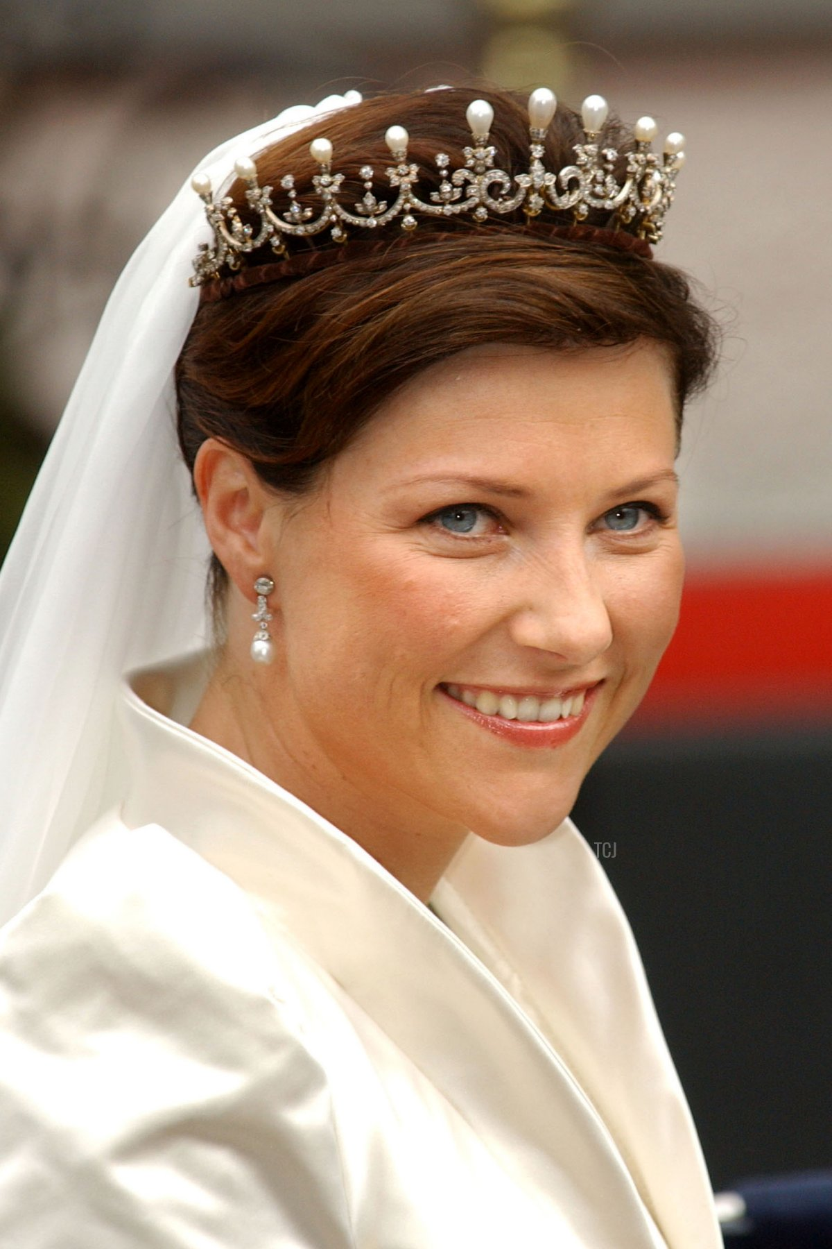 Norwegian Princess Martha Louise leaves the Royal Residence for her wedding to writer Ari Behn May 24, 2002 in Trondheim, Norway