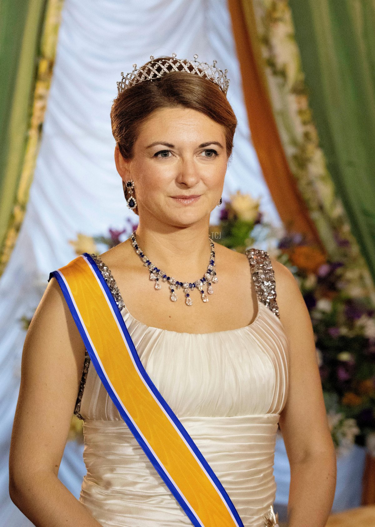 Hereditary Grand Duchess Stephanie of Luxembourg at the Palais Grand-Ducal in Luxembourg, on May 23, 2018, official photo moment before the State Banquet on the 1st day of the State visit