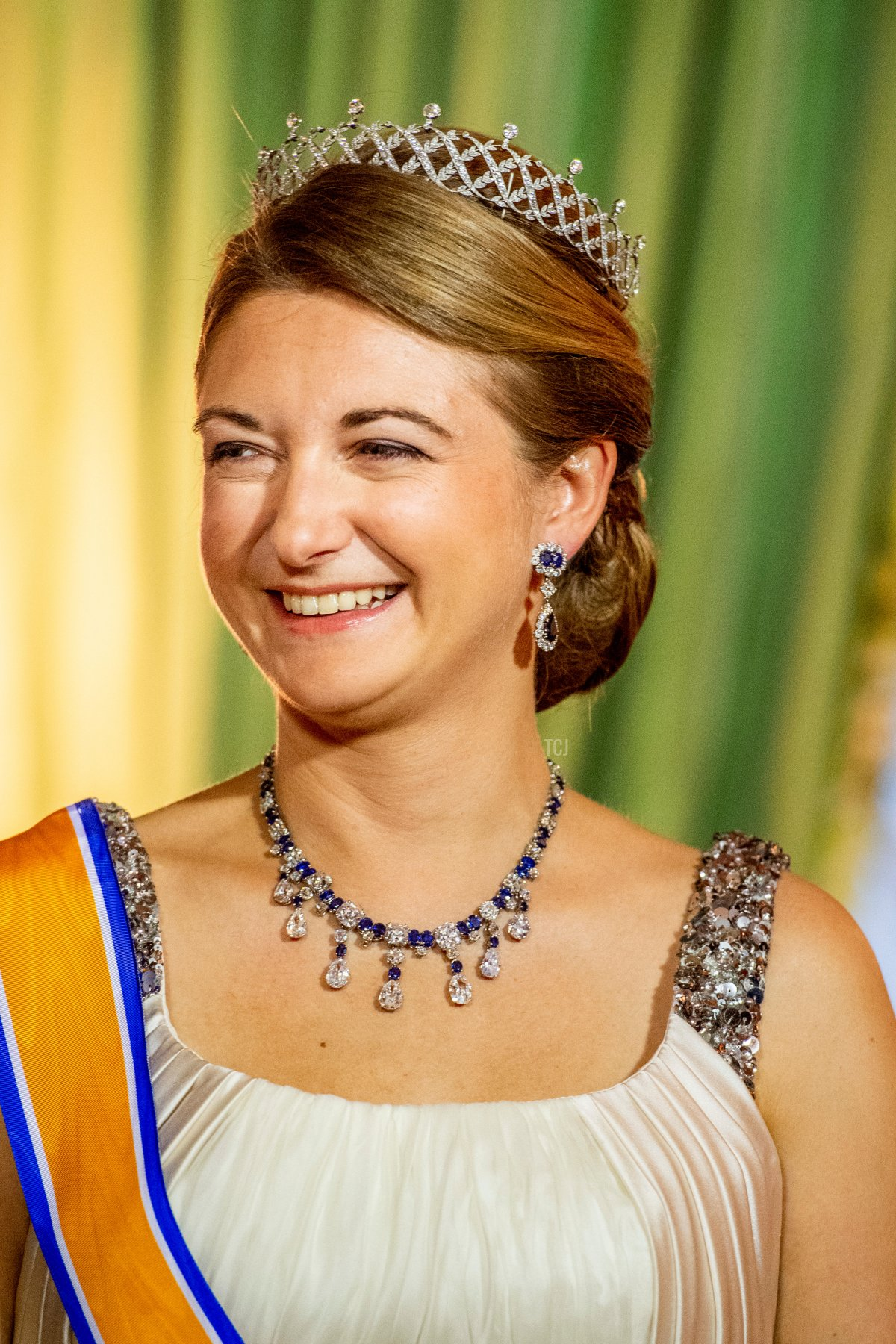 Hereditary Grand Duchess Stephanie during the official state banquet at the Grand Ducal Palace in Luxembourg, 23 May 2018. The Dutch King and Queen are in Luxembourg for an three day state visit