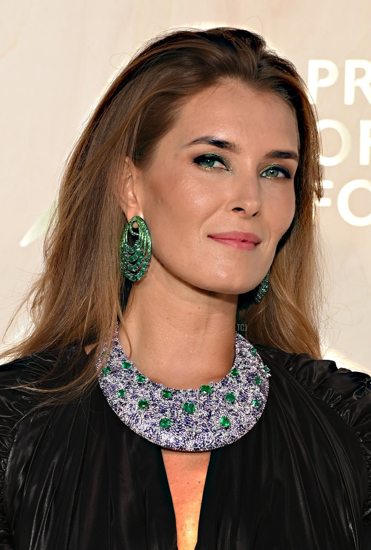 Anata Dite, wearing a Fawaz Gruosi necklace, attends the 5th Monte-Carlo Gala For Planetary Health on September 23, 2021 in Monte-Carlo, Monaco