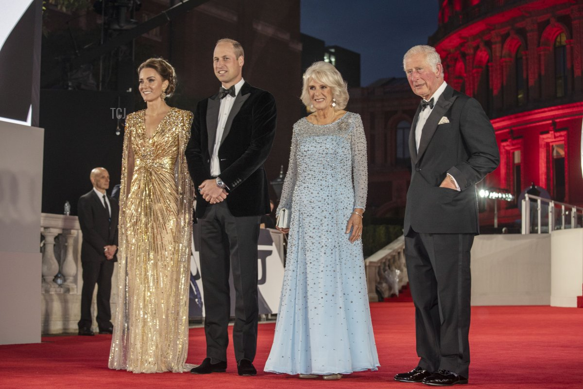 """Catherine, Duchess of Cambridge, Prince William, Duke of Cambridge, Camilla, Duchess of Cornwall and Prince Charles, Prince of Wales attend the """"No Time To Die"""" World Premiere at Royal Albert Hall on September 28, 2021 in London, England"""