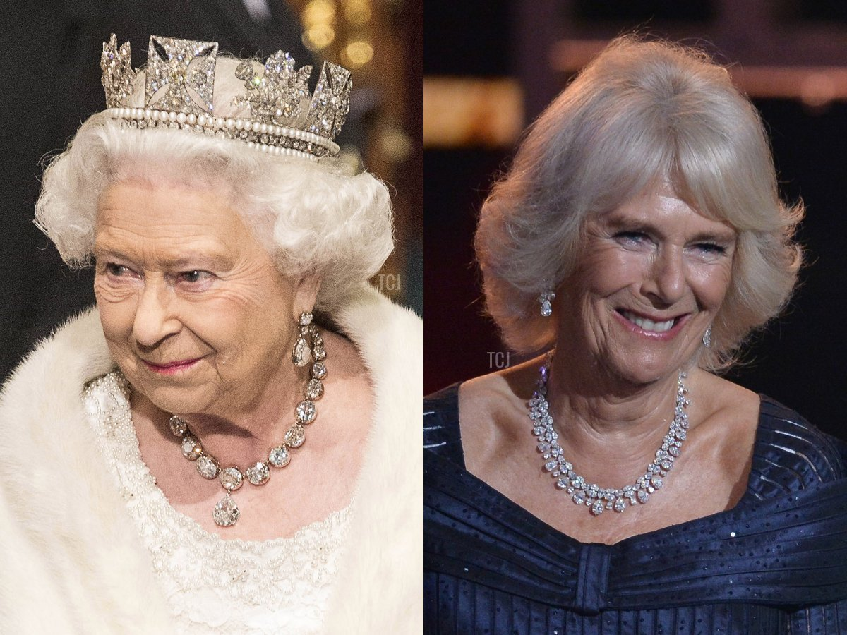 The Coronation Necklace and Camilla's Pear-Shaped Diamond Necklace