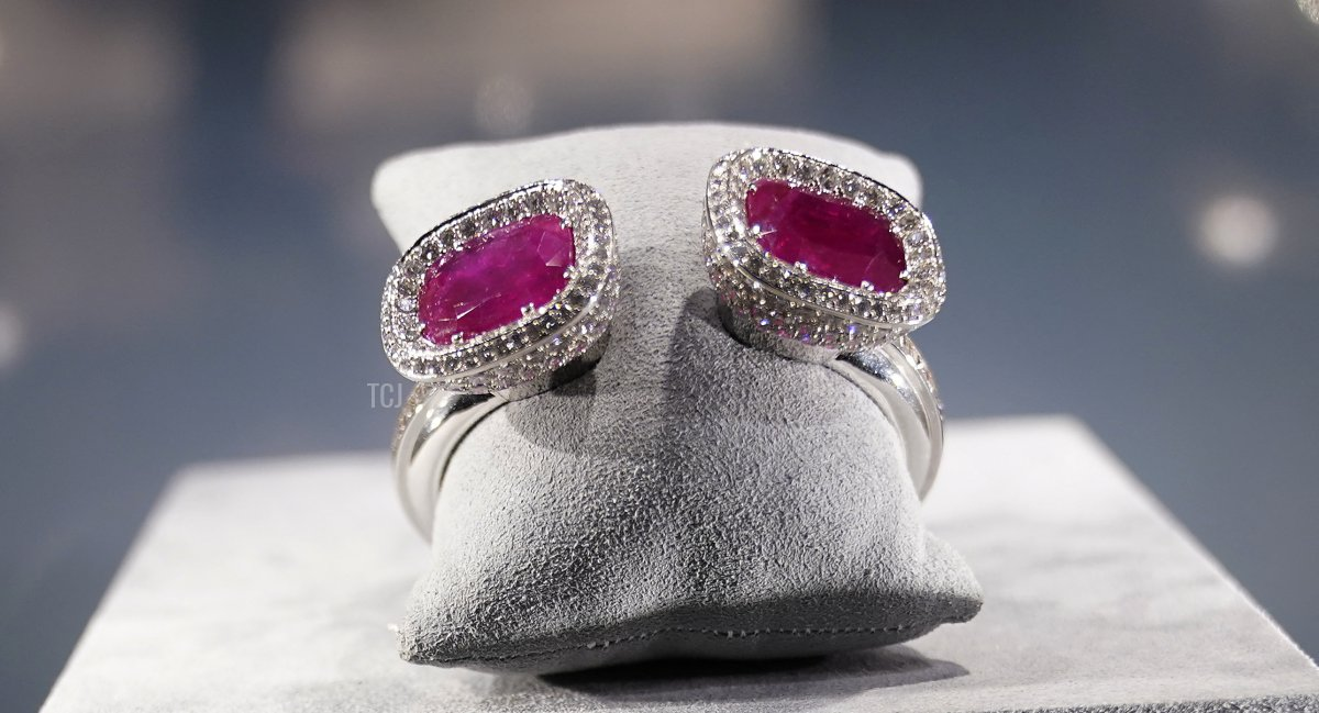 The former Duchess of Windsor's Art Deco ruby and diamond bangle, given by the former Duke of Windsor to his wife on their first wedding anniversary in 1938, is seen during a press preview September 28, 2021, at Christie's in New York