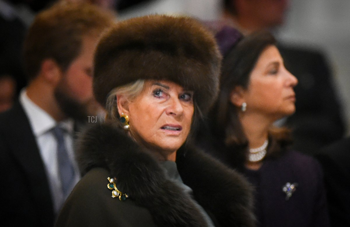 Princess Lea of Belgium attends the wedding ceremony of Grand Duke George Mikhailovich Romanov and Victoria Romanovna Bettarini at Saint Isaac's Cathedral in Saint Petersburg, on October 1, 2021