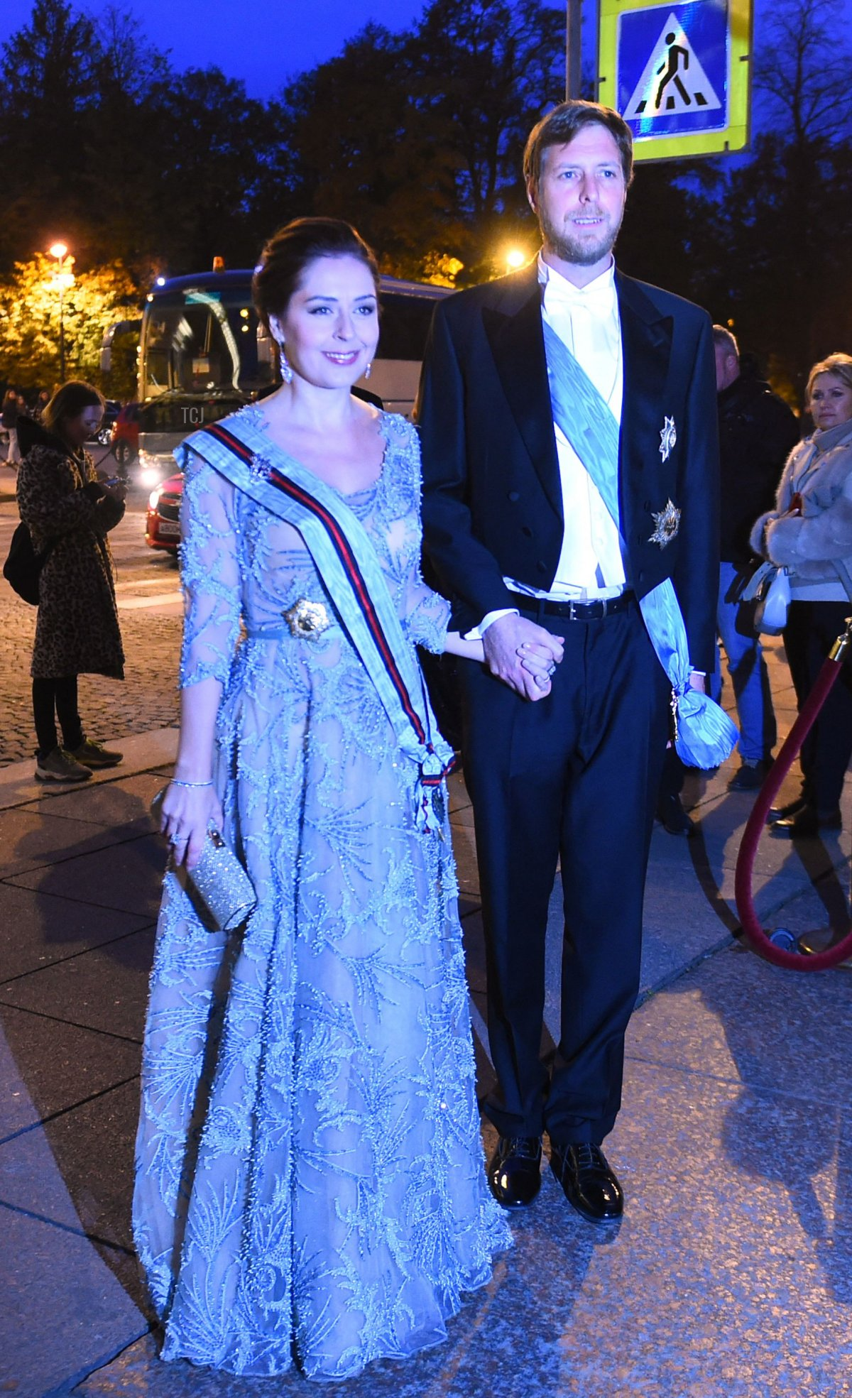 Albania's pretender to the throne, Crown Prince Leka Zogu II, the grandson of self-proclaimed King Zog and his wife Elia Zaharia arrive to attend a dinner during the wedding of Grand Duke George Mikhailovich Romanov, and Victoria Romanovna Bettarini in Saint Petersburg, on October 1, 2021