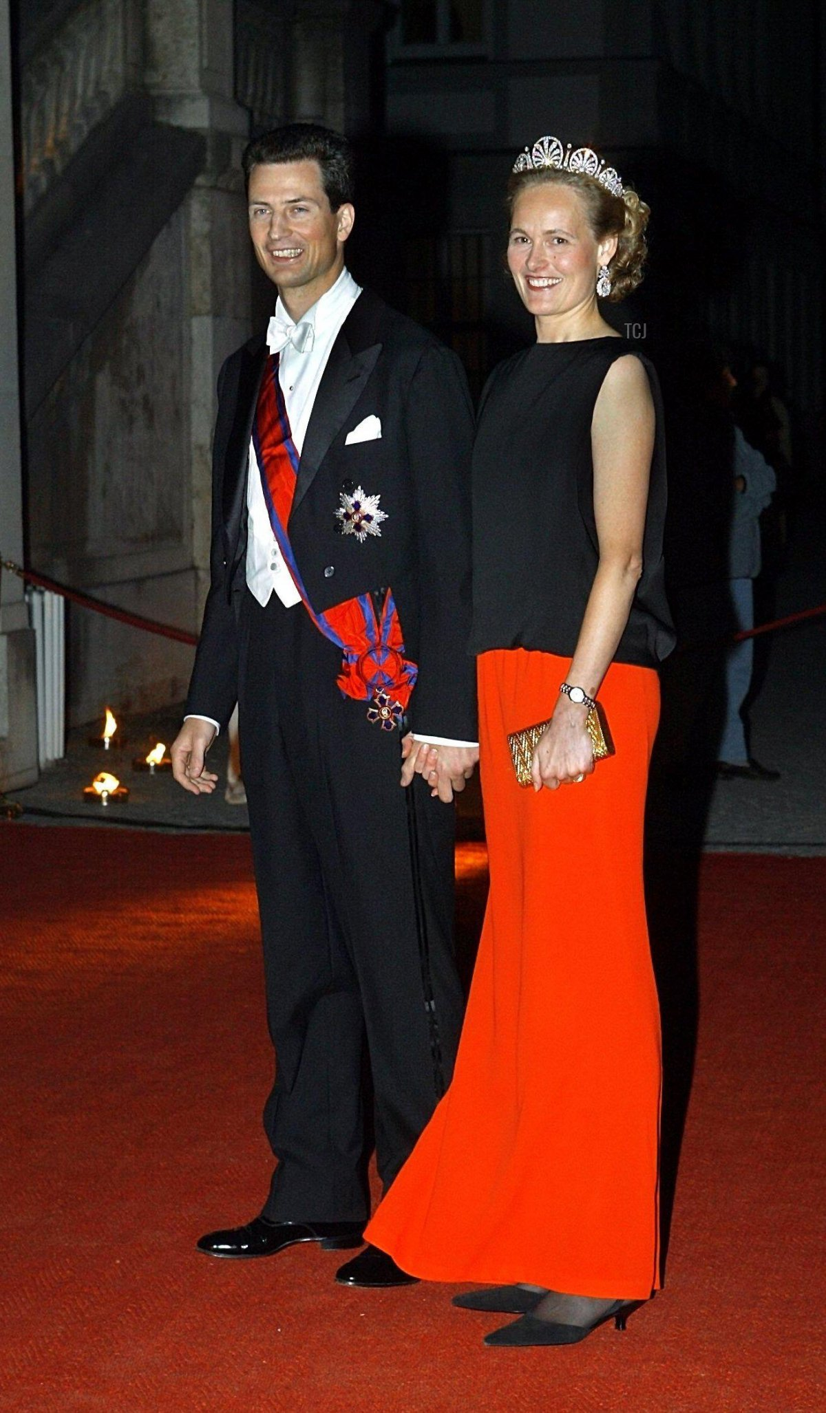 Alois Philipp Maria, Hereditary Prince of Liechtenstein, and his wife Sophie, Hereditary Princess of Liechtenstein, arrive to a reception on the occasion Duchess Elizabeth's wedding in Munich, Germany, 22 September 2004