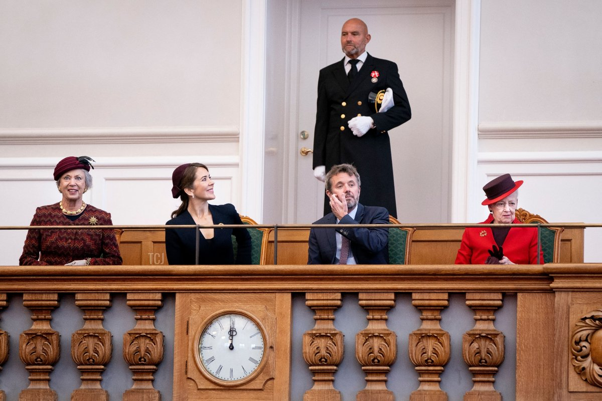 The Danish royal family from left: Princess Benedikte, Crown Princess Mary, Crown Prince Frederik and Queen Margrethe during the opening of the Danish Parliament Folketinget in Copenhagen, Denmark, on October 5, 2021