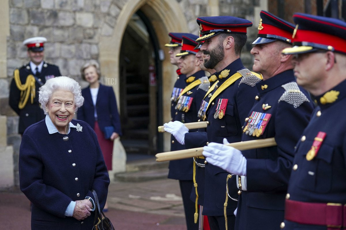 Britain's Queen Elizabeth II meets representatives of the Royal Regiment of Canadian Artillery to mark the 150th Anniversary of the foundation of A and B Batteries, at Windsor Castle, Windsor on October 6, 2021