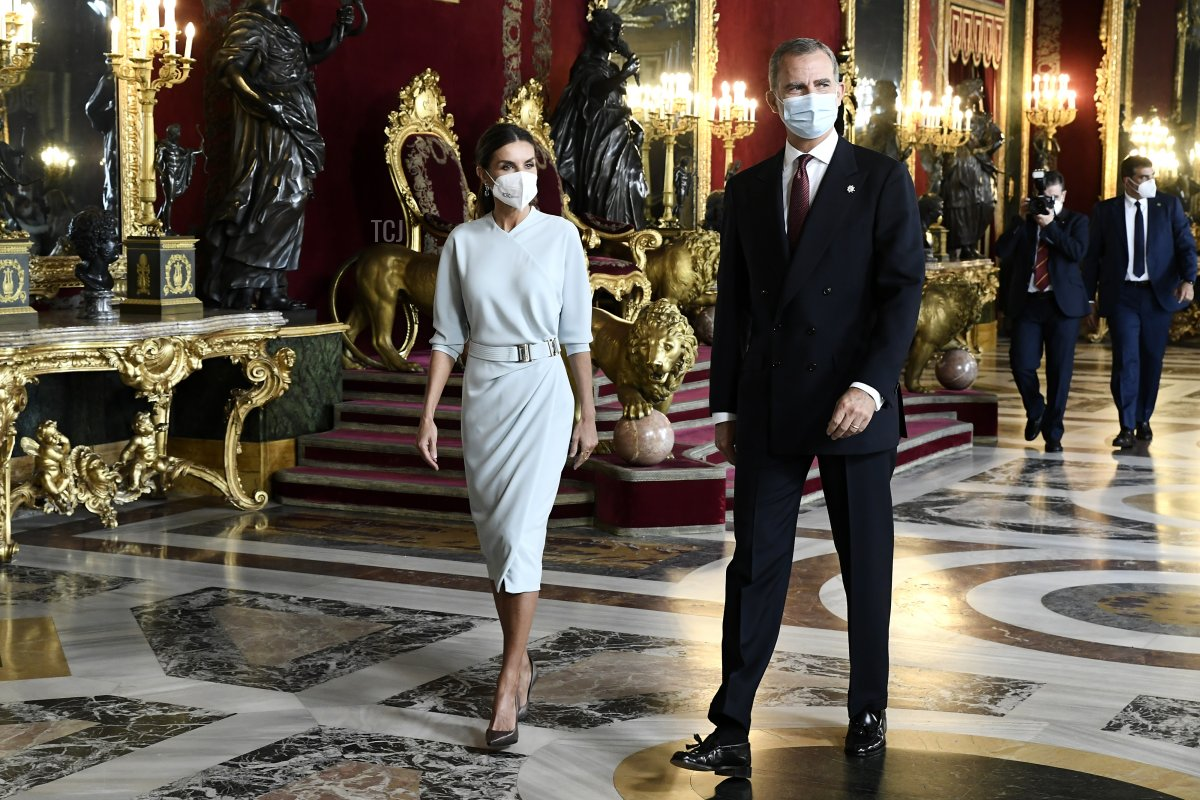 King Felipe VI of Spain and Queen Letizia of Spain attend a reception during the National Day at the Royal Palace on October 12, 2021 in Madrid, Spain