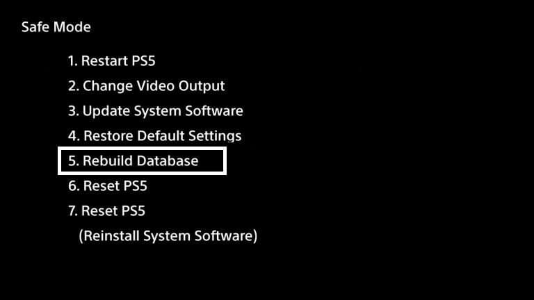 safe-mode ps5 rebuild database