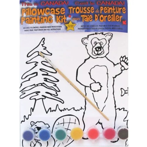 Bear Moose and Beaver Pillowcase Painting Kit